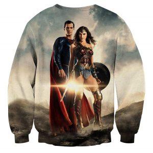 Dawn Of Justice Superman and Wonder Woman Full Print Sweatshirt - Superheroes Gears