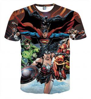 Justice League DC Comics Superheroes Team Cool Art Print T-Shirt - Superheroes Gears