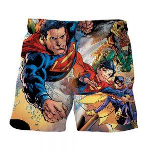 Justice League Powerful Superman Comic Art Print Shorts - Superheroes Gears