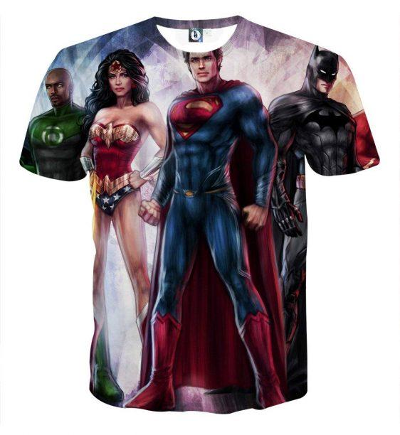 Justice League Heroes Cool Fan Art Design Full Print T-Shirt - Superheroes Gears