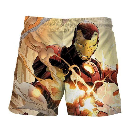 Iron Man Canon Blaster Battle Cartoon Style Print Boardshorts