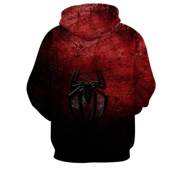 Spiderman Logo Dark Red Black Print Hoodie