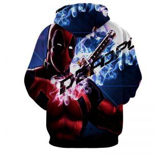 Sexy Deadpool Winking Awesome Portrait Smoke Design Hoodie - Superheroes Gears