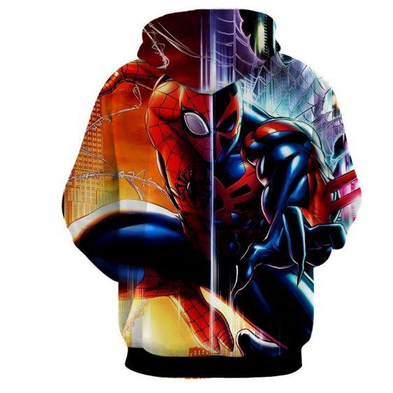 Spiderman Half Kaine Two Sides Print Hoodie