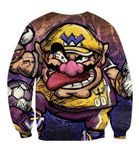 Super Mario Wario Madness Villain Cartoon Sketch Sweatshirt