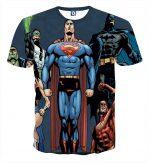 Justice League Superheroes Team Up Full Print T-Shirt - Superheroes Gears
