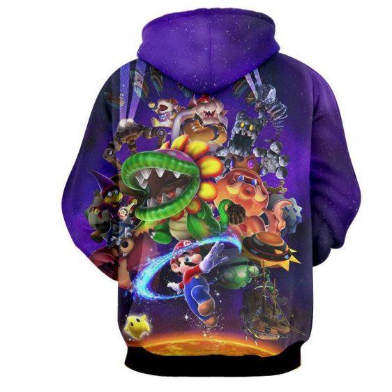 Super Mario Skyship Bowser Monster Vibrant Print Hoodie