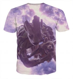 Guardians of the Galaxy Groot Rocket Space Flying Design T-shirt - Superheroes Gears