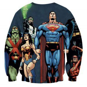 Justice League Superheroes Team Up Full Print Sweatshirt - Superheroes Gears