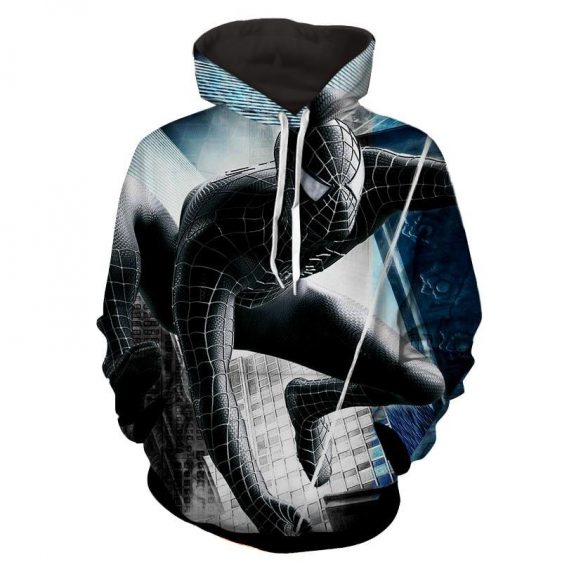Dark Spiderman Monochrome Building Print Hoodie