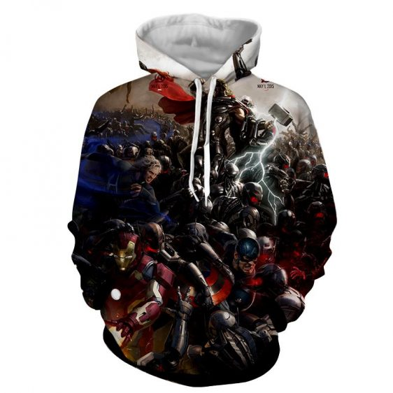 Marvel The Avengers Fighting Ultron 3D Full Print Hoodie
