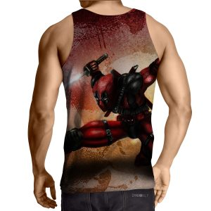 Serious Deadpool Dual Blades Fighting Fashionable Print Tank Top - Superheroes Gears