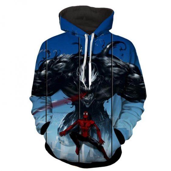 Spiderman Venom Marvel Comic Print Hoodie