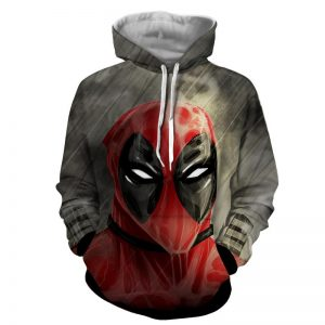 Deadpool Wet Face Portrait In The Rain Amazing Design Hoodie - Superheroes Gears