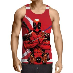 Deadpool Folding His Arms Dope Style Full Print Red Tank Top - Superheroes Gears
