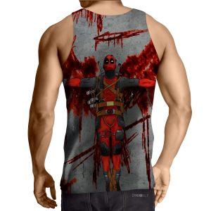 Deadpool Guns Holding Bloody Wings Dope Design Print Tank Top - Superheroes Gears