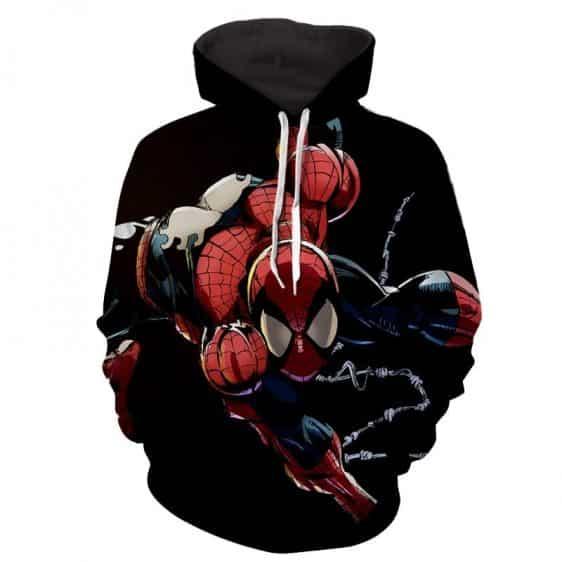 Spiderman Web Comic Art Black Hoodie