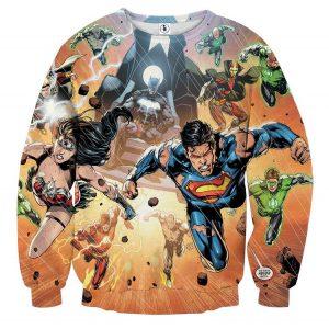 Justice League Heroes Fighting Dope Design 3D Print Sweatshirt - Superheroes Gears