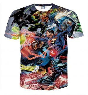 Justice League Fighting Scene Cool Design Full Print T-Shirt - Superheroes Gears