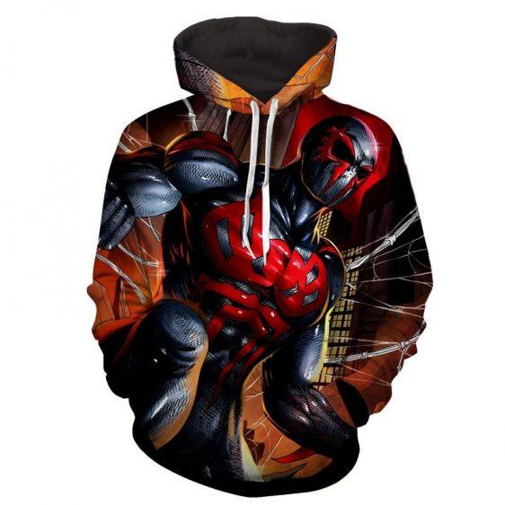 Spiderman 2099 Amazing Muscle Portrait Full Print Hoodie