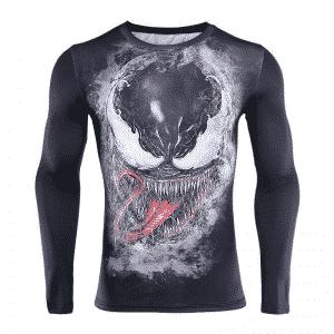 Marvel Venom Black Long Sleeves Compression Fitness T-Shirt