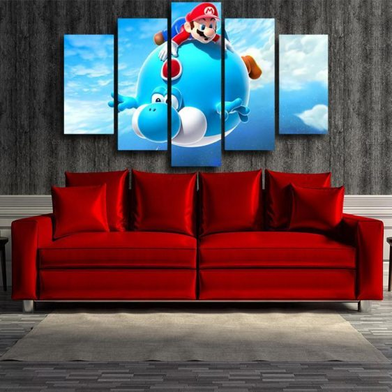 Super Mario Blue Yoshi 5pc Wall Art Decor Posters Canvas Prints