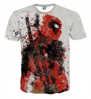 Deadpool Impressive Abstract Painting Design 3D Print T-shirt - Superheroes Gears