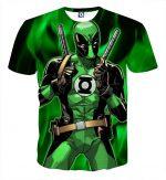Deadpool In Green Lantern Costume Perfect Design T-shirt - Superheroes Gears
