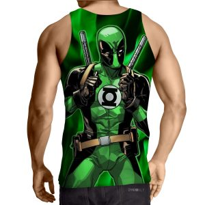 Deadpool In Green Lantern Costume Perfect Design Tank Top - Superheroes Gears