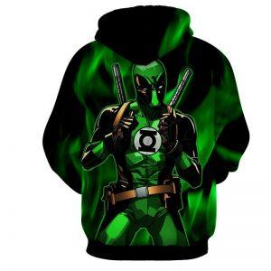 Deadpool In Green Lantern Costume Perfect Design Hoodie - Superheroes Gears