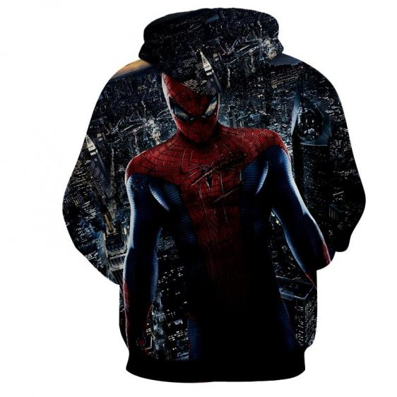Amazing Spiderman Scratched Cityscape Print Hoodie