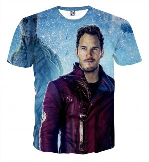 Guardians of the Galaxy Peter Quill Portrait Vibrant Design T-shirt - Superheroes Gears