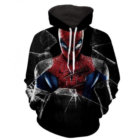 Amazing Spiderman Broken Glass Scratch 3D Print Hoodie