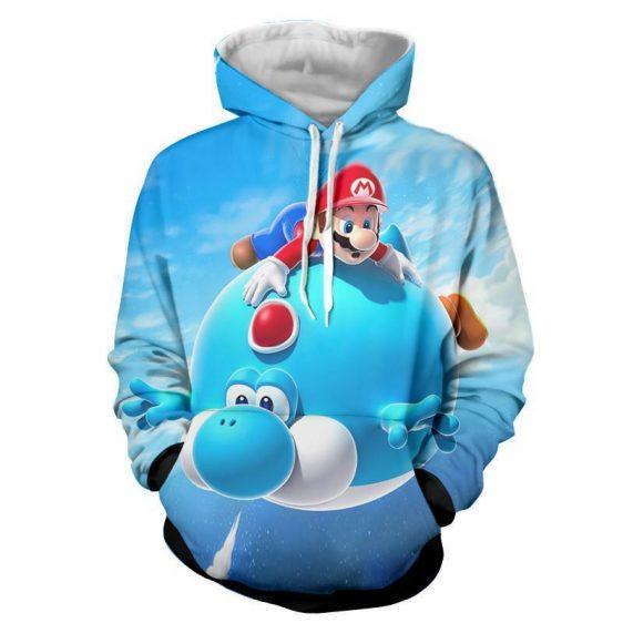 Super Mario Blue Yoshi Fly Cute Trendy Gaming Urban Hoodies