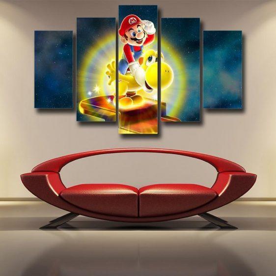 Super Mario Golden Yoshi 5pc Wall Art Decor Posters Canvas Prints