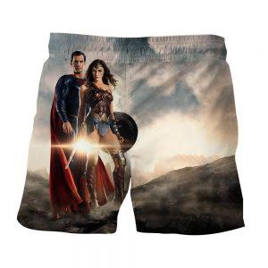 Dawn Of Justice Superman and Wonder Woman Full Print Shorts - Superheroes Gears