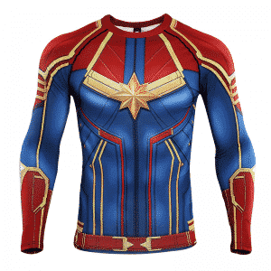 Red Captain Marvel Long Sleeves Cosplay Compression T-Shirt