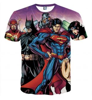 Justice League Comics Heroes Dope Team 3D Print T-Shirt - Superheroes Gears