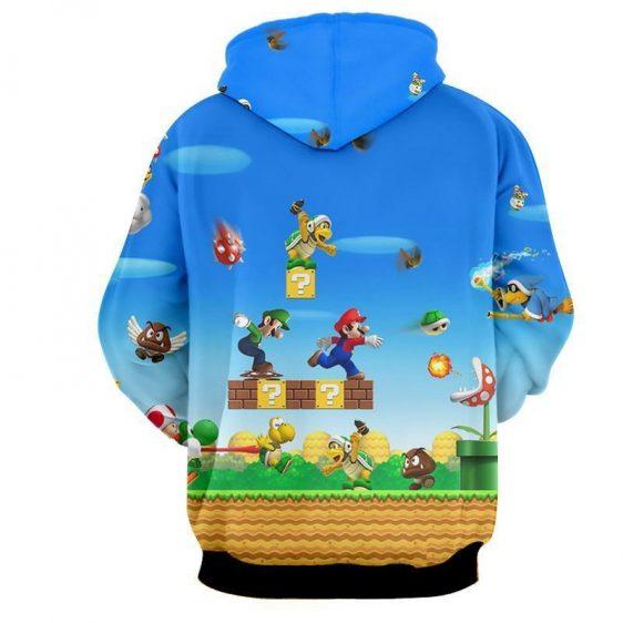 Super Mario Bros Luigi Monster Scene Vibrant Game Hoodie