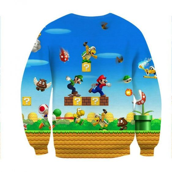 Super Mario Bros Luigi Monster Scene Vibrant Game Sweatshirt