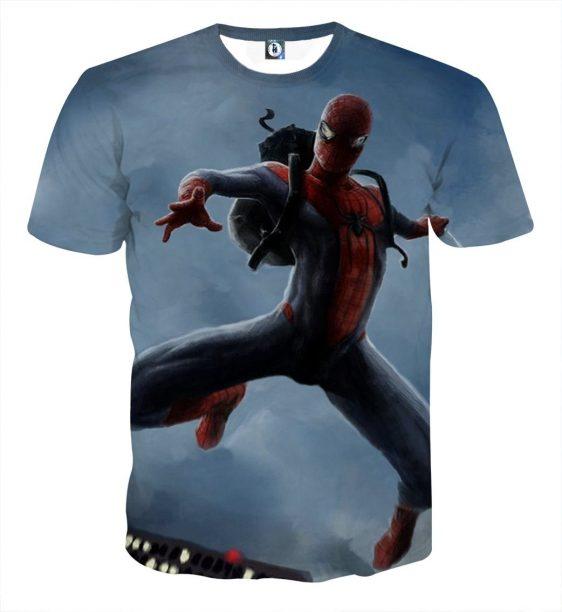 Alert In Danger Spider-Man Cool Design 3D Print T-Shirt