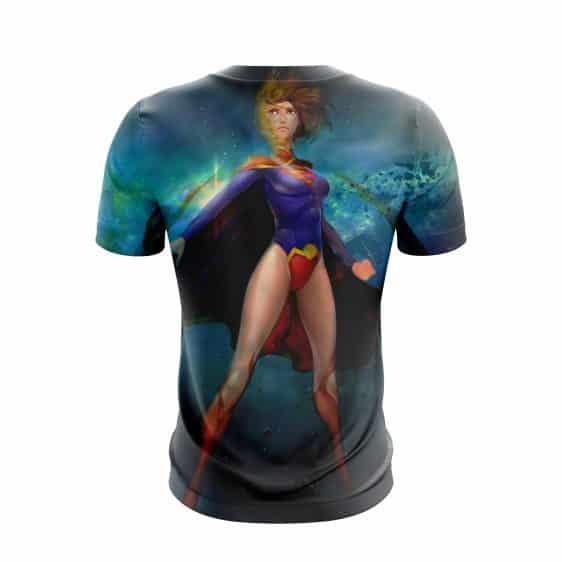 Amazing Animated Supergirl In Blue Galactic Universe T-Shirt