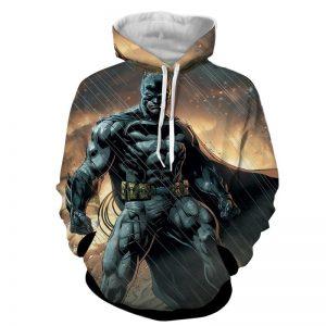 Angry Batman Standing Under The Rain Full Print Hoodie - Superheroes Gears
