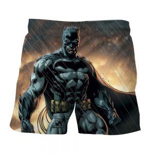 Angry Batman Standing Under The Rain Full Print Shorts - Superheroes Gears