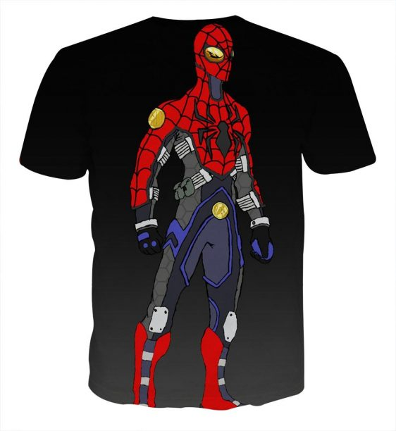 Animated Spider-Man Portrait Design Print T-Shirt