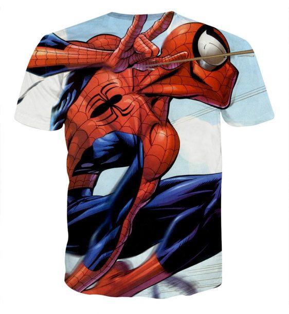 Animated Spider-Man Power Net Design Short Sleeves T-Shirt