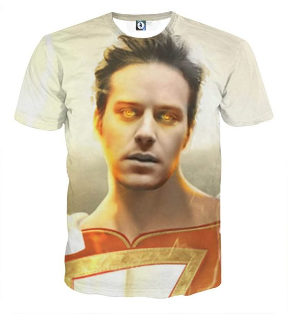 Armie Hammer As Captain Marvel Shazam Full Print T-Shirt
