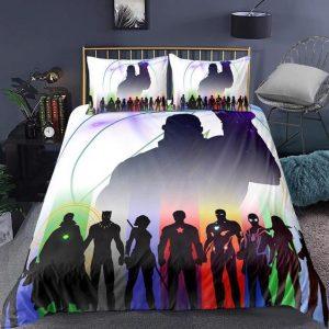 Avengers End Game Superheroes Silhouette Minimalist Bedding Set