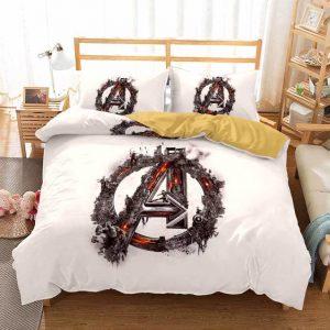 Avengers Symbol War Simulation Art Beige Bedding Set