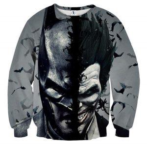 Batman And The Villain In One Face Full Print Gray Sweatshirt - Superheroes Gears